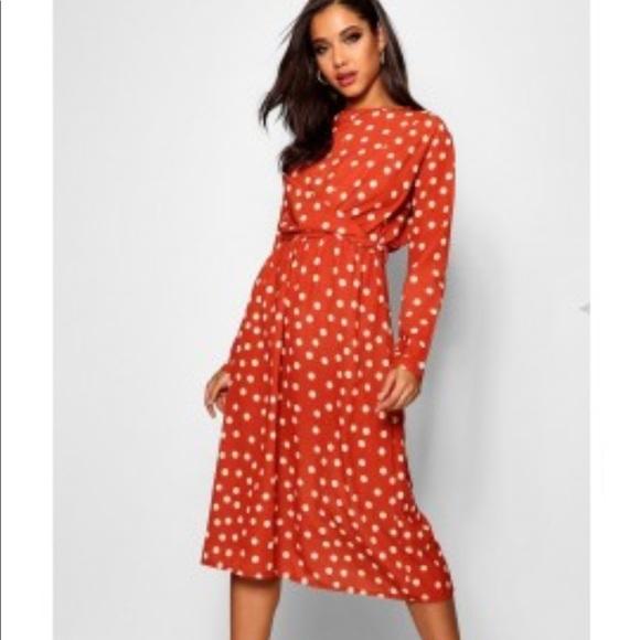 6d6dd9f4a965 Boohoo Dresses | Layla Wrapped Front Polka Dot Midi Dress | Poshmark